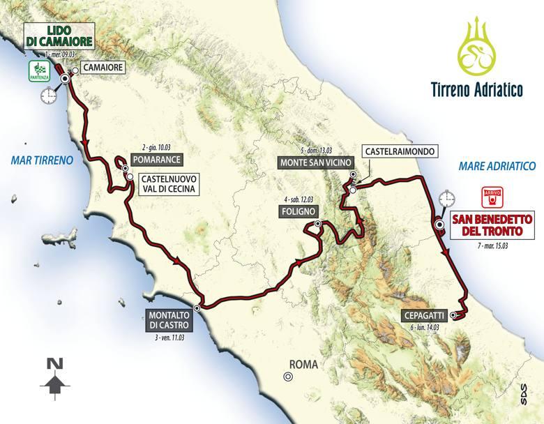 Dal 9 al 15 marzo si svolge la Tirreno-Adriatico, sette tappe, la cronosquadre di apertura, la crono individuale di chiusura. Il percorso totale è lungo 1019,8 km