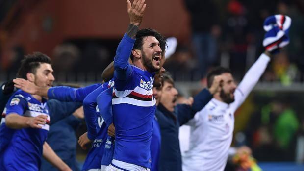 La festa della Sampdoria a fine partita. Getty