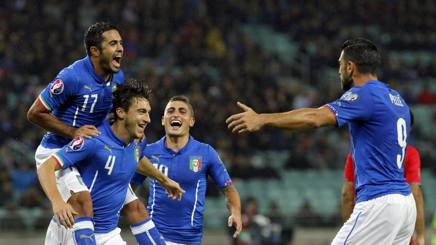 Gli azzurri della Nazionale di calcio italiana. Epa