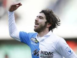 Alberto Paloschi dopo il gol del temporaneo 1-0. LaPresse