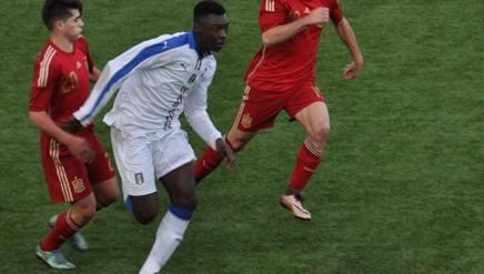 Moises Kean Bioty, 16 anni, in azione contro la Spagna. Foto ODDI