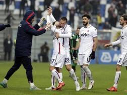 La gioia di Giaccherini dopo il gol decisivo sul campo del Sassuolo. Ansa
