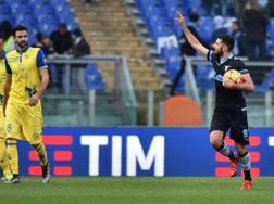L'esultanza di Antonio Candreva (28 anni) dopo il gol del pareggio. Ansa