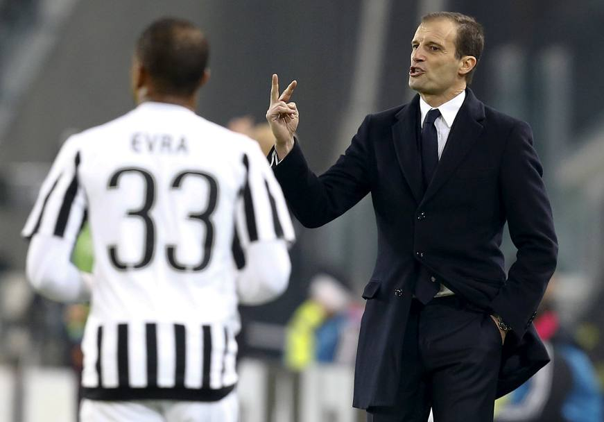 La grinta di Massimiliano Allegri in panchina. Reuters
