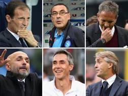 Allegri, Sarri, Mihajlovic, Spalletti, Sousa e Mancini