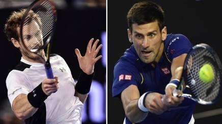 Andy Murray e Novak Djokovic. Afp