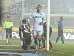 L'esultanza di Domenico Berardi dopo il gol. LaPresse