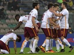 Festa Roma dopo il gol di Salah