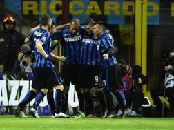 L'esultanza dell'Inter dopo l'1-0. Afp