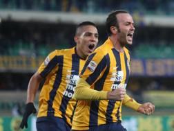 Giampaolo Pazzini, 31 anni, attaccante del Verona, alla quarta rete stagionale con i giallobl�. Ansa