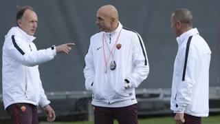 Luciano Spalletti con i suoi vice Domenichini e Andreazzoli. Getty Images