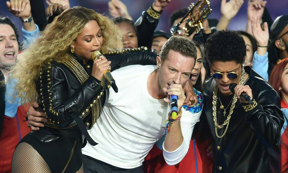 Beyoncè, Chris Martin and Bruno Mars (Afp)
