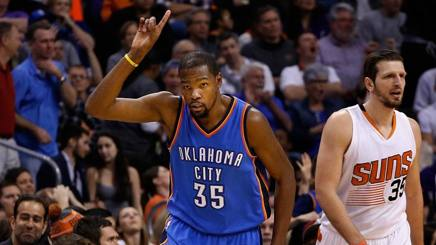 Kevin Durant, 32 punti contro Phoenix. Afp