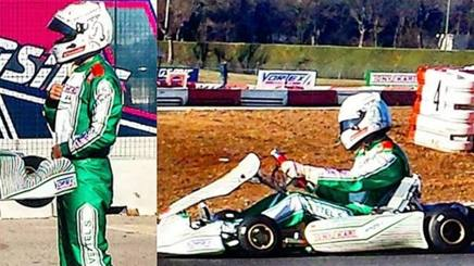 Sebastian Vettel a Lonato in azione sul kart