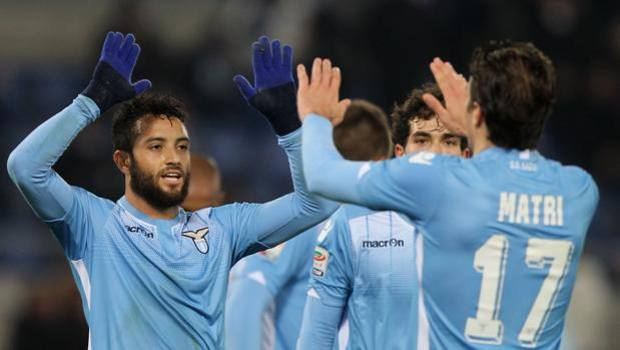 Felipe Anderson esulta con Matri. Getty