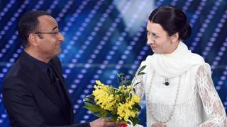 Carlo Conti con Virginia Raffaele. Ansa