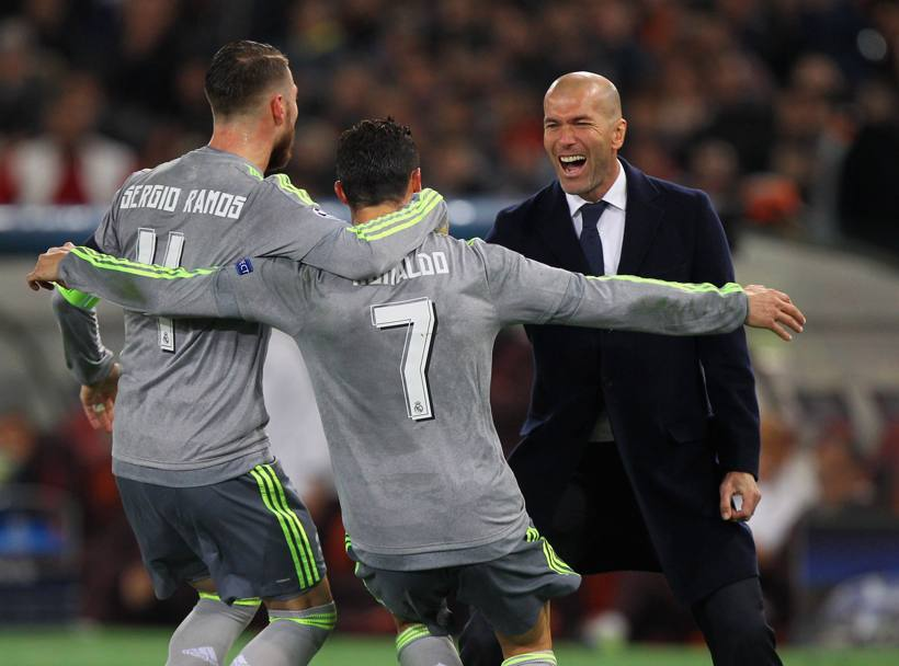 Ronaldo e Zidane fanno festa: il Real Madrid batte 2-0 la Roma. Getty