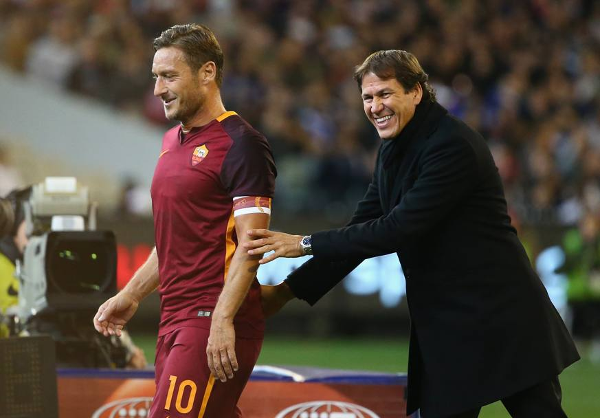 Francesco Totti e il tecnico Rudi Garcia (Getty Images)