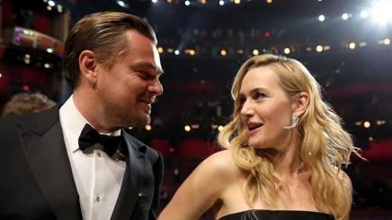 Leonardo Di Caprio e Kate Winslet agli Academy Awards 2016. AFP