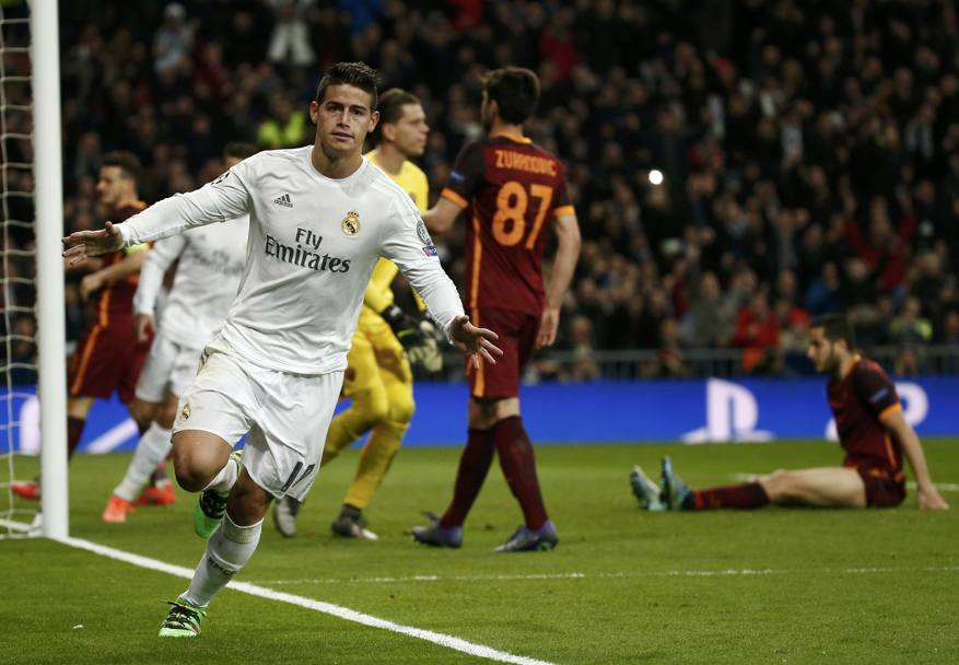 James Rodriguez segna il 2-0 su assist di Ronaldo e fa festa. Reuters