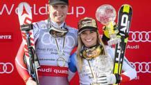 Il norvegese Aleksander Aamodt Kilde e la svizzera Lara Gut . Epa