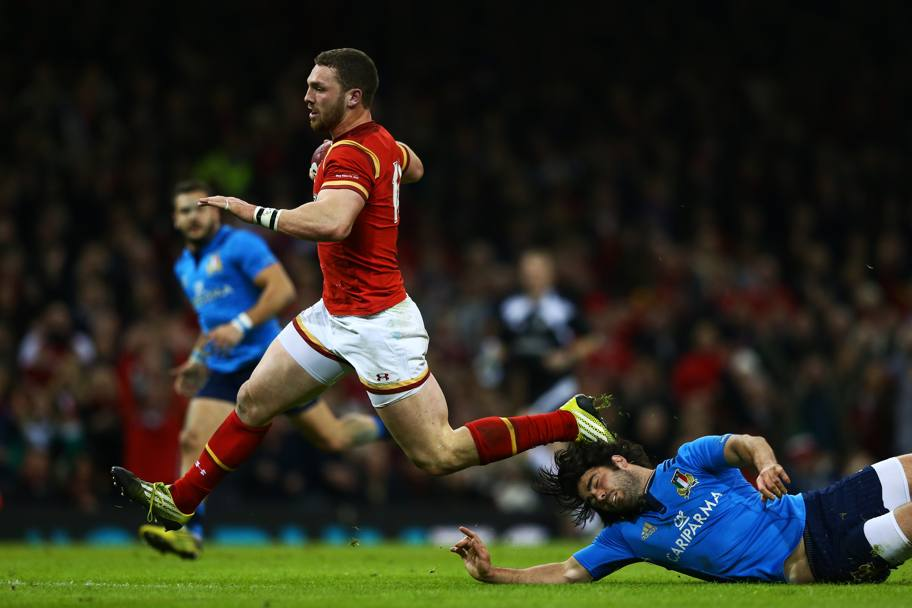 George North in fuga verso la meta (Getty Images)