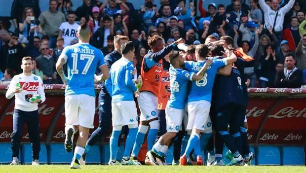 Festa Napoli dopo il gol di Gabbiadini. Afp