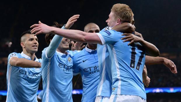 L'esultanza del City dopo il gol di De Bruyne. Afp