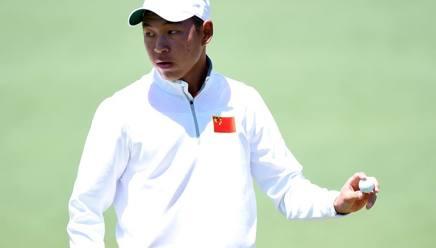 Il cinese Cheng Jin alla Pro-Am di Augusta. Afp