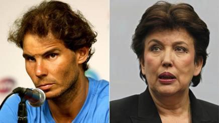 Rafael Nadal e l'ex ministro francese Roselyne Bachelot. Afp