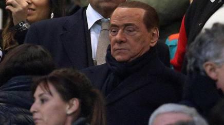 Silvio Berlusconi in tribuna a San Siro. Ansa