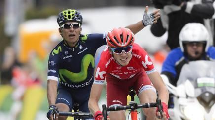 Zakarin e Quintana all'arrivo della seconda tappa del Giro di Romandia