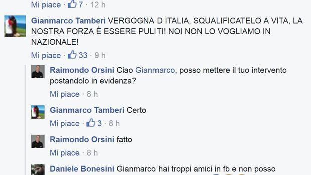 Il commento di Tamberi sulla pagina Facebook