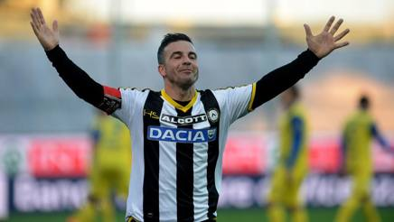 Antonio Di Natale, 38 anni, attaccante dell'Udinese dal 2004. Getty Images