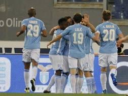 L'esultanza della Lazio. LaPresse