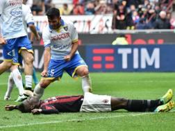 Mirko Gori esulta dopo l'errore dal dischetto di Mario Balotelli