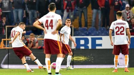 Il gol del pareggio di Totti. Ansa