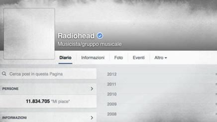 La pagina Facebook dei Radiohead