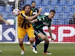 Luca Toni, 38 anni, in azione contro il Sassuolo. Ansa
