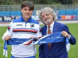 Da sin. Vincenzo Montella, 41 anni, allenatore della Sampdoria, e Massimo Ferrero, 64, presidente del club. Ansa