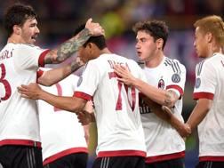 L'esultanza del Milan dopo il gol di Carlos Bacca. LaPresse