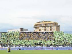 La coreografia della curva del Frosinone che ha accolto la squadra in campo contro il Sassuolo. LaPresse