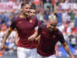 Nainggolan e Rudiger, autori dei primi due gol della partita. Getty Images