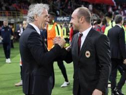 Roberto Donadoni con Cristian Brocchi. Ansa