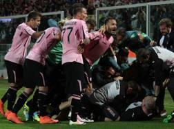 L'esultanza del Palermo. LaPresse