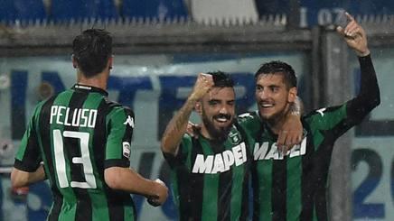 La gioia del Sassuolo dopo il successo con l'Inter. Getty