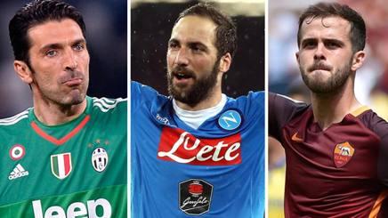 Gigi Buffon, Gonzalo Higuain e Miralem Pjanic