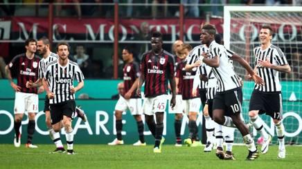 Pogba esulta dopo aver deciso l'ultimo Milan-Juve. Forte