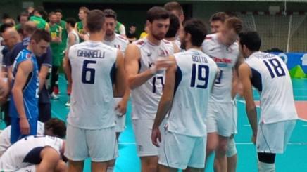 Un time out degli azzurri con Giannelli, Botto, Fedrizzi, Anzani e Zaytsev