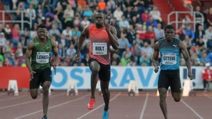 Usain Bolt nei 100 metri ad Ostrava. Afp